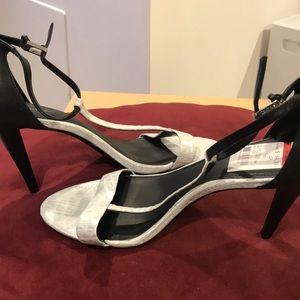 Calvin Klein silver and black open toe heels